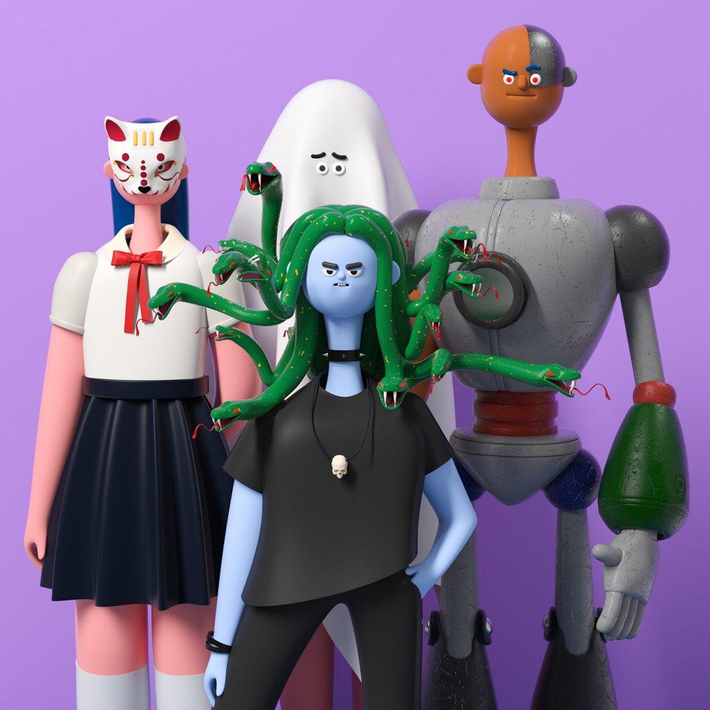 модели персонажей смотрят на нас