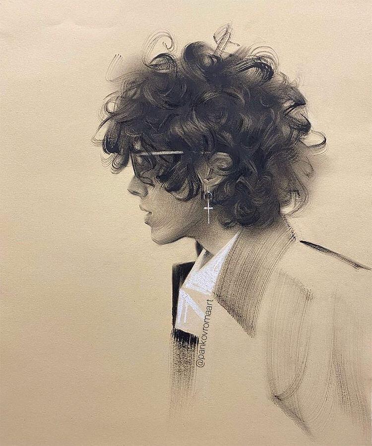 портрет LP нарисованный сухой кистью