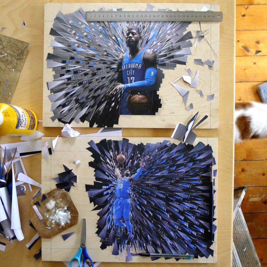 коллаж с баскетболистом в синей форме
