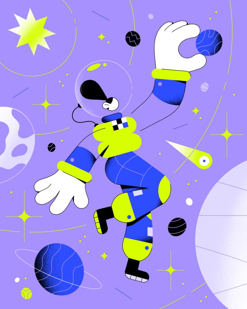 абстрактный женский персонаж держит планету