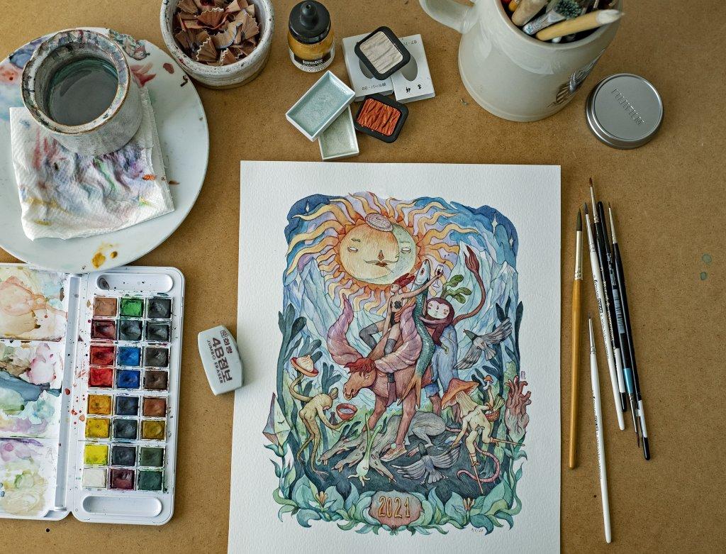 сказочный сюжет выполнен акварельными красками