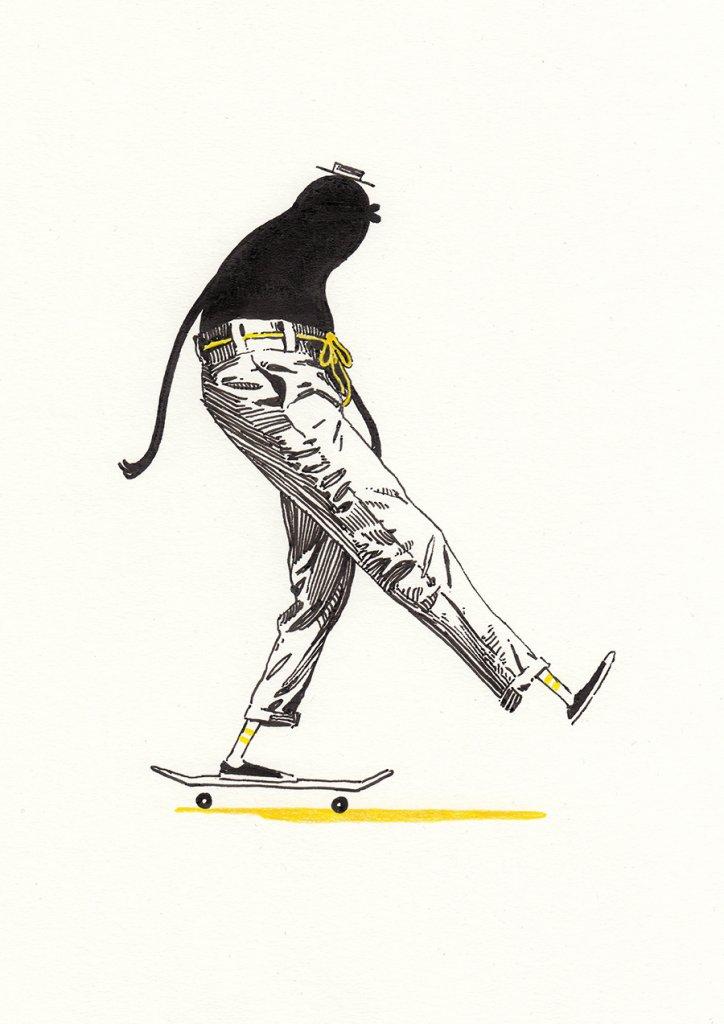 абстрактный персонаж катается на скейборде