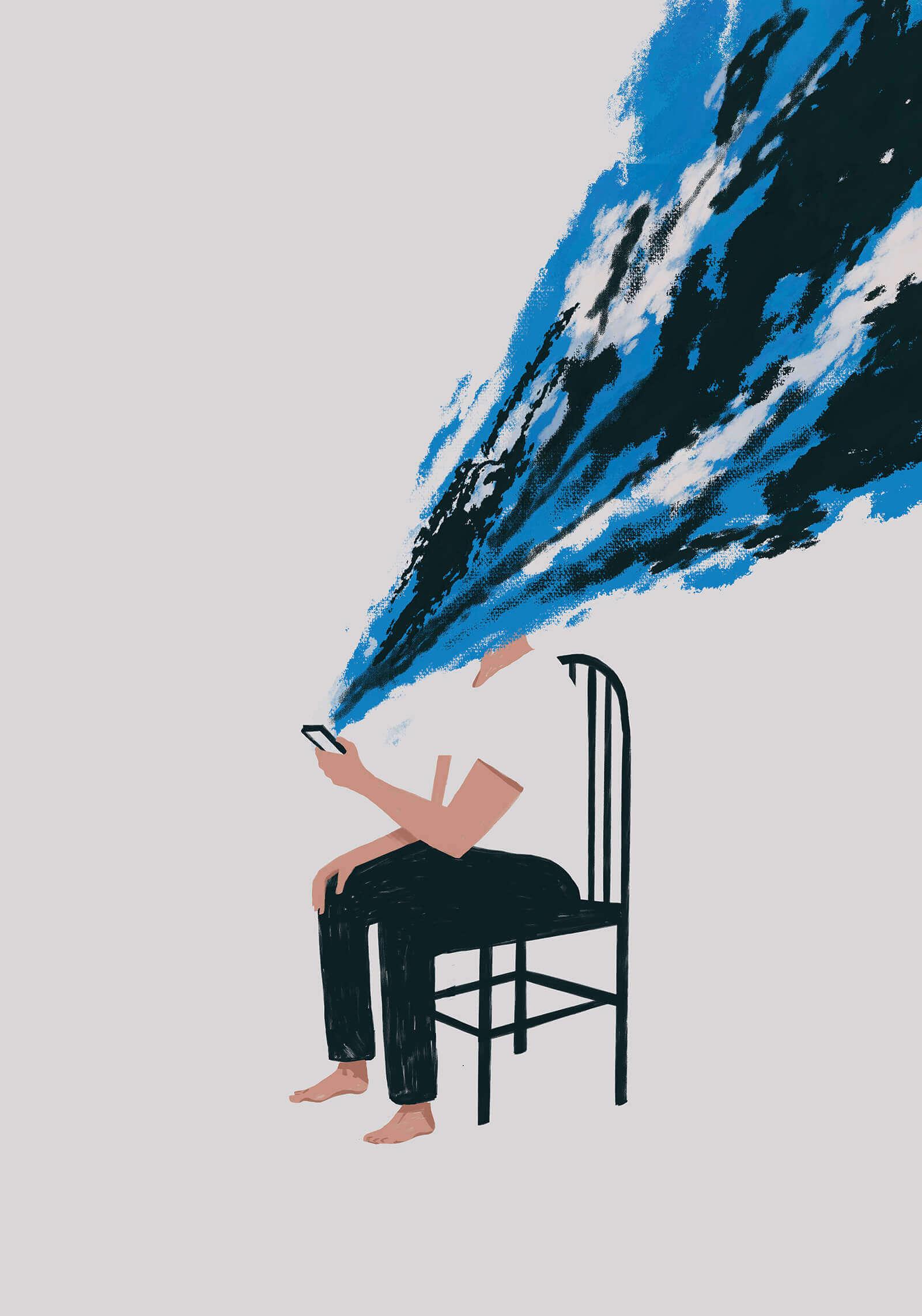 мужчина сидит на стуле и смотрит в телефон с которого идет потом чего-то ему в лицо