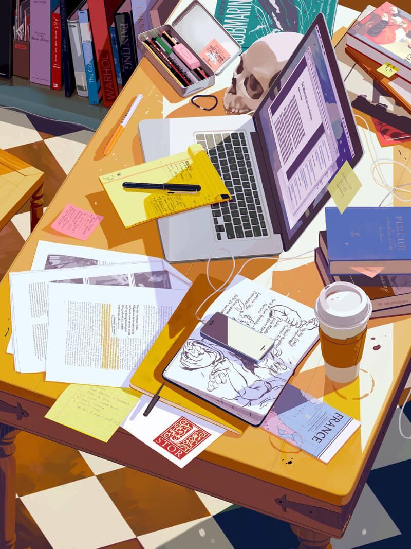 рабочее место заваленное рабочими инструментами и книгами