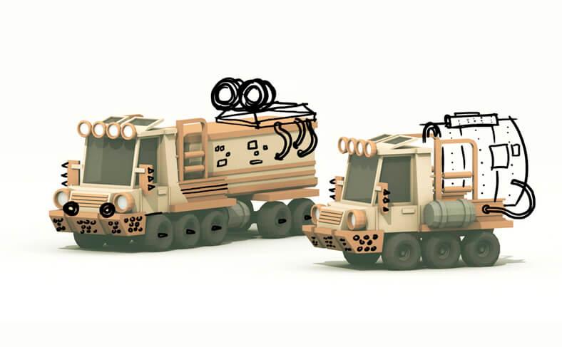 3д модели двух мультяшных грузовиков
