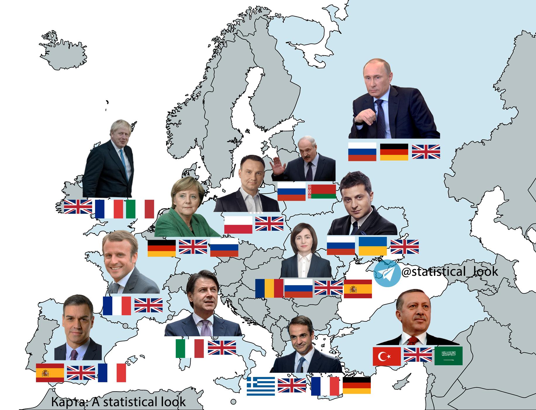Инфографика: Какими языками владеют лидеры европейских государств