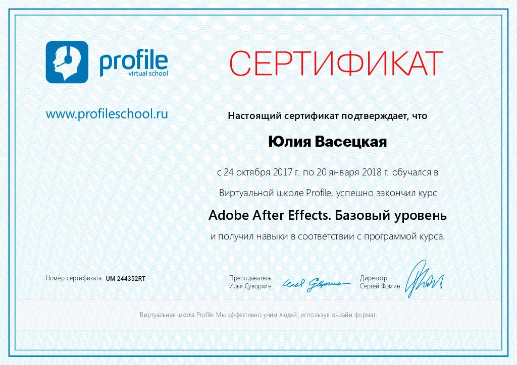 Сертификат Profileschool