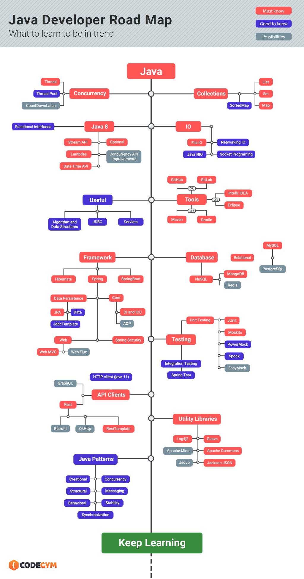 Что изучать, чтобы выучить Java: инфографика