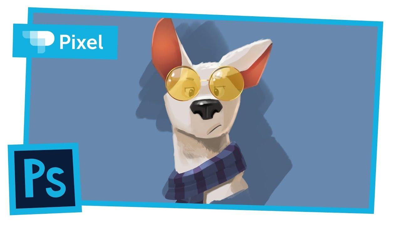 Рисуем забавного пса в Adobe Photoshop | цифровое рисование