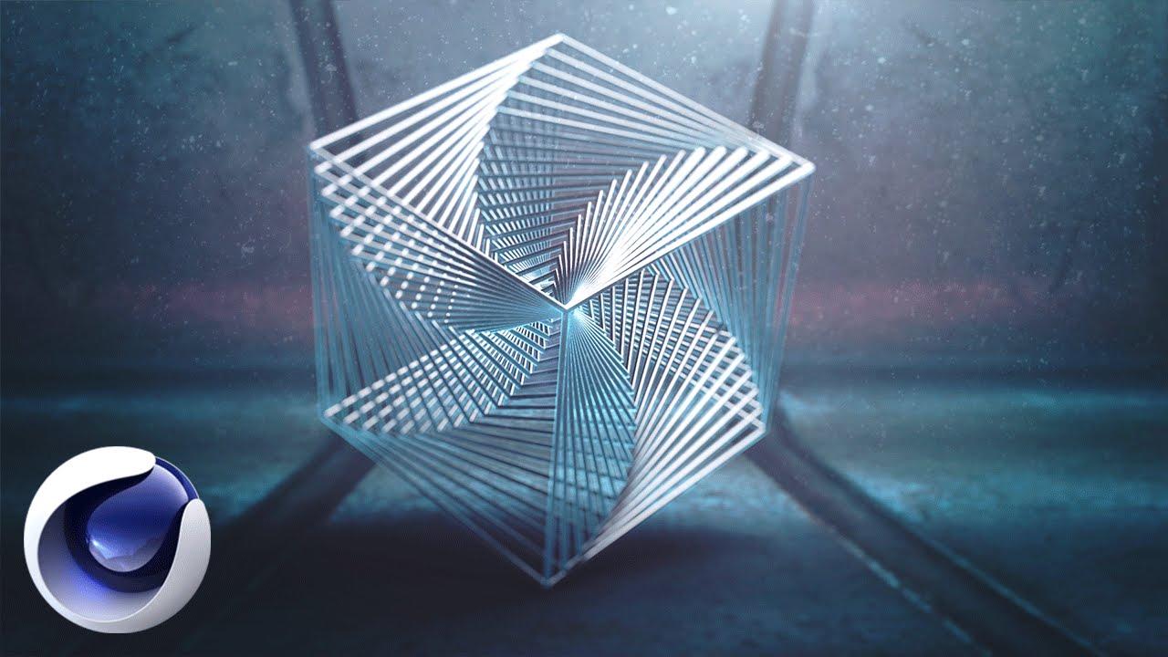 Композиция с кубом в Cinema 4D.