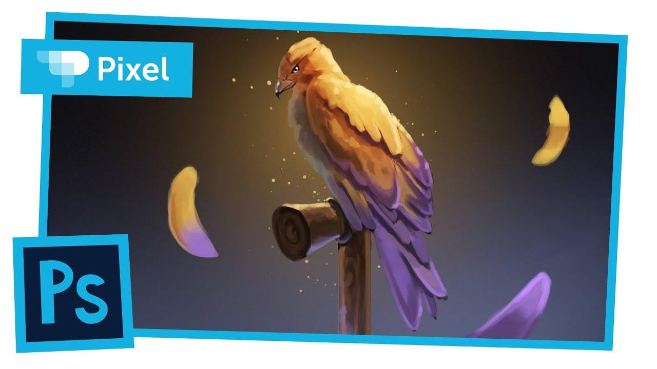 Рисуем яркого феникса в Adobe Photoshop на графическом планшете