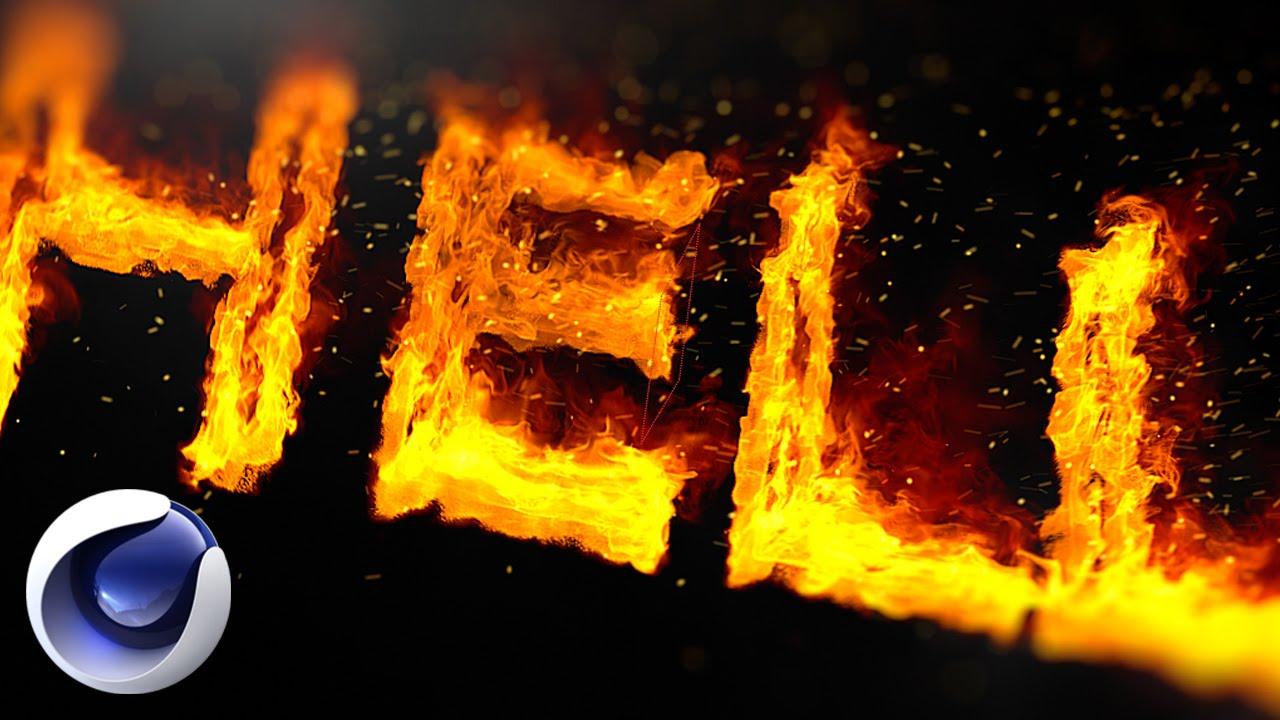Огненный текст в Cinema 4D