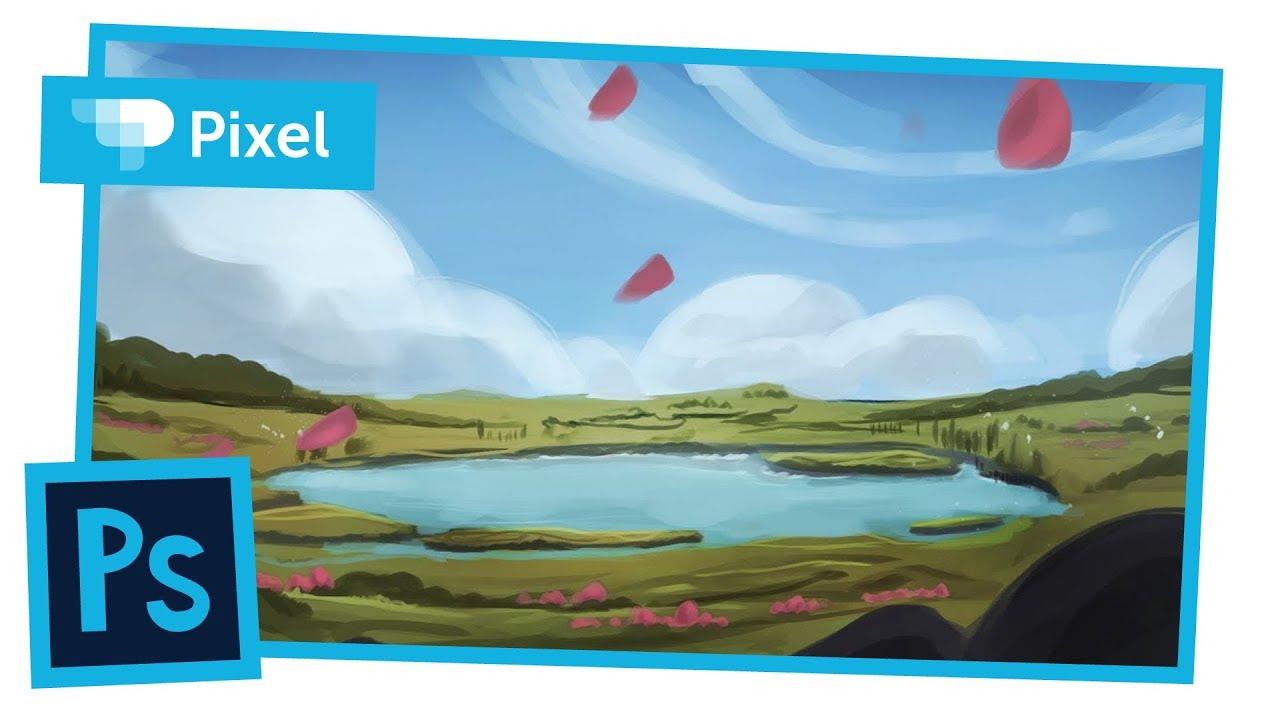 Рисуем весенний пейзаж в Adobe Photoshop | цифровое рисование | уроки для начинающих