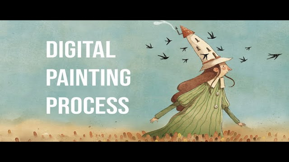 Digital Watercolor -  Painting Process - Watercolor Brushes