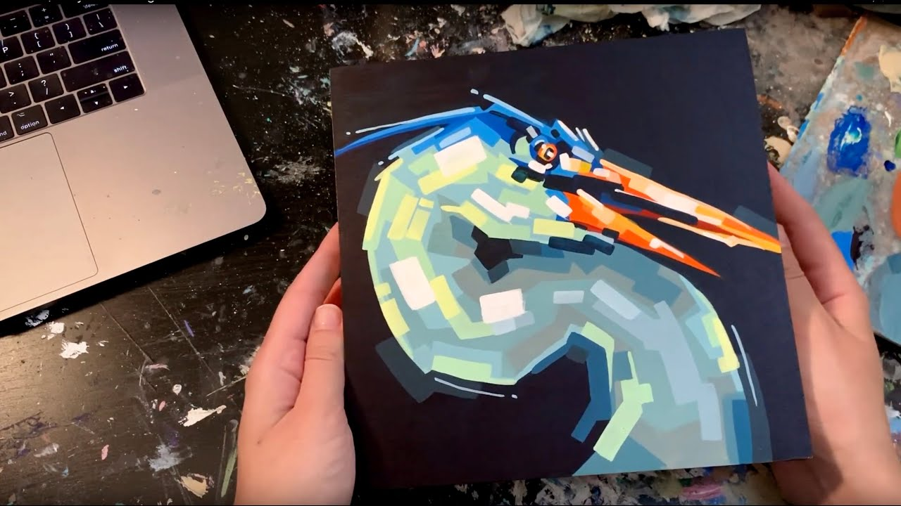 Heron, Acrylic Painting Process