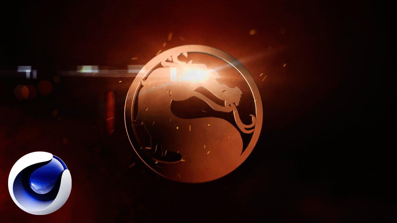 Огненный логотип Mortal Kombat в Cinema 4D.