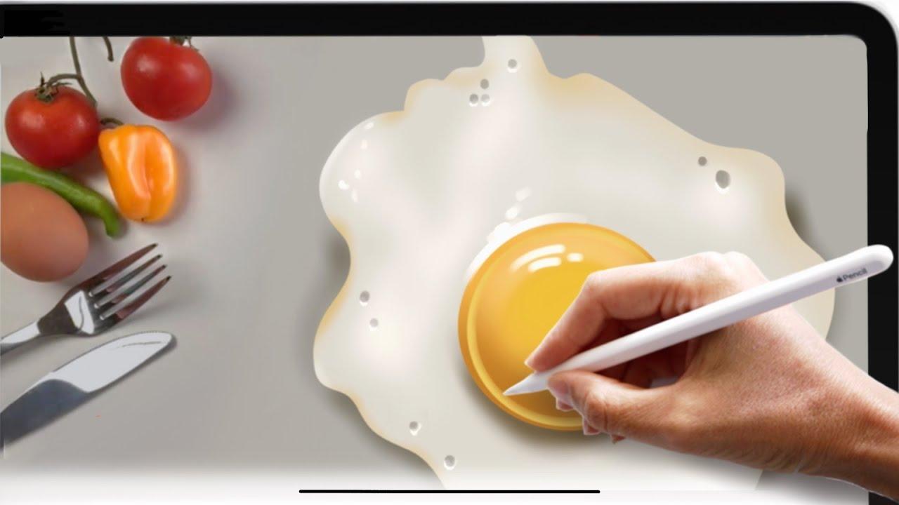 🍳 Как рисовать реалистично на iPadPro 3D | Видео без ускорения | Уроки Procreate для новичков
